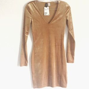 H&M Divided Gold Velour NWT Dress Bodycon sz 4